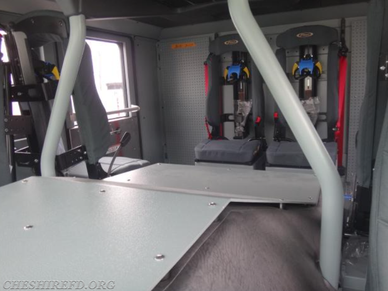 The rear wall of the crew cab interior now has a metal peg board installed, which will help mount equipment inside the cab.