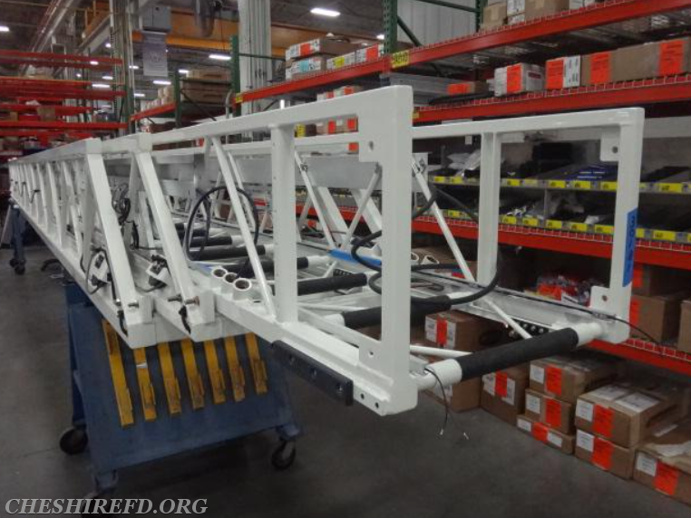The aerial ladder was delivered from Kewaunee Fabrications in Kewaunee (WI) to Pierce's Aerial Assembly building in Appleton (WI).