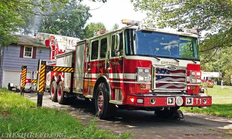 The new Truck 1 has only been in service for several weeks and was well positioned in the driveway in the event that an aerial stream was required.